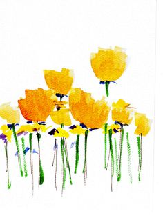 Handpainted Note Card Greeting Card Any occasion Blank Buttercup Yellow Poppy Wildflowers Floral Original Watercolor Gardening. $3.50, via Etsy.