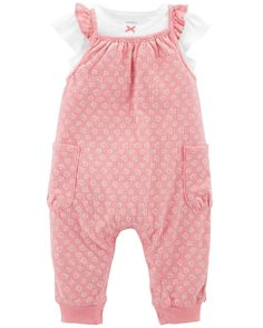 939ec2d86 2-Piece Tee & Gauzy Jumpsuit Set. Carters Baby Girl, Baby Girls, Pink Hearts  ...