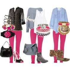 """Hot Pink pants mix it up"" by marnel on Polyvore"
