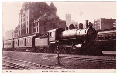"BC – VANCOUVER, C.P.R. Station, Locomotive #881 ""Where you Stop"" c.1911 RPPC"