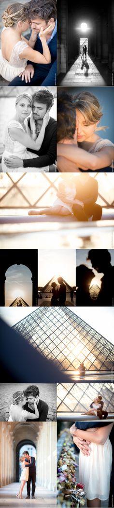 photo couple engagement louvre paris, coucher de soleil, ponts des arts
