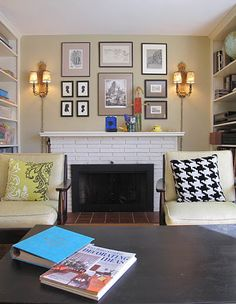 living room; library; fireplace