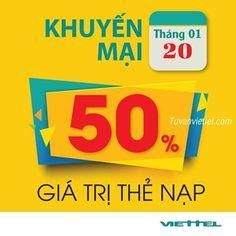Viettel khuyến mãi 50% giá trị thẻ nạp toàn quốc ngày 20/1/2017