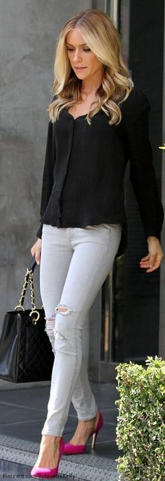 Kristin Cavallari. Her shoes and perfect for the skinny and her top. Classy yet chic