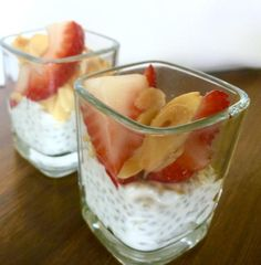Chia Seed Pudding Recipe  Serves 6 cups or 12 half cups - 2 cups Coconut Milk - 2 cups Greek Yogurt - 1/2 cup Chia Seeds - 2 oz 100% Pure Maple Syrup - 2 Tsp Vanilla Extract - 1/2 Tsp K Kosher Salt - 1 pint Strawberries, Sliced - 1/2 cup Almonds, Sliced & Roasted Gently whisk coconut milk, yogurt, maple syrup,vanilla and salt together. Stir in chia seeds. Let stand for 30 minutes, stir to distribute the seeds if they have settled. Cover and refrigerate overnight. Serve with berries and…