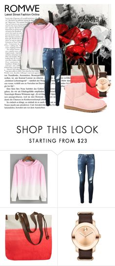 """""""Romwe contest"""" by dinka1-749 ❤ liked on Polyvore featuring AG Adriano Goldschmied, Olivier Desforges, Movado and UGG Australia"""