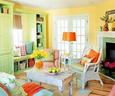 Bright Living Room with orange and green