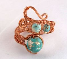 Copper Wire Wrapped Ring //  wire wrapped by PillarOfSaltStudio, $20.00