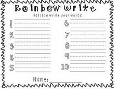 1000 images about homeschooling writing and copy work for Rainbow writing spelling words template
