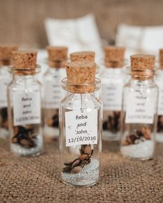 Wedding Favors For Guests Rustic Thank You Gift Personalized Message In A Bottle Winter Unique Silver White Beige Shabby