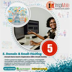 🌐 Online presence begins with a unique, memorable and perfect web domain  Domain name search and Domain registration of a unique and memorable with a TLD that suits your business.   We register domain names in conjunction with domain extensions as well country-code domains (ccTLDs) like .ke, .co.ke etc. Also getting TLDs (Top Level Domains e.g .biz, .tech, .org etc) that suit your business or cause.  #inspimate #domain #registration #webhosting #email #DomainNameSearch #DomainRegistration
