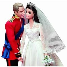 Mattel the famed toy company is releasing a special set of Barbie dolls made in the likeness of Prince William and Kate Middleton. This will be the first Barbie doll set made for the pair in celebration of the their first anniversary. Ken Doll, Barbie E Ken, Princess Barbie, Girl Barbie, Barbie Dress, Kate Middleton, Middleton Dolls, Wedding Doll, Barbie Wedding