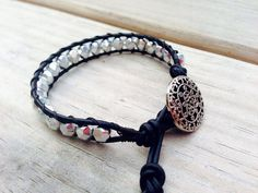 Single Leather Wrap Bracelet - Edgy Black and Silver