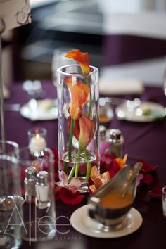 Wedding table centerpiece like the calilillies like this. kind of a compromise between drowned and not Cylinder Vase Centerpieces, Wedding Table Centerpieces, Centerpiece Ideas, Wedding Reception Decorations, Wedding Themes, Wedding Bells, Wedding Designs, Wedding Ideas, Table Decorations