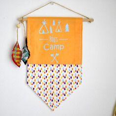 Bannière fanion plaque de porte - thème indien - décoration murale - chambre enfant bébé - tissu - bois - imprimé goutte