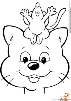 Cat and Mouse $0.00 Printable Coloring, Adult Coloring Pages, Bugs, Hello Kitty, Snoopy, Activities, Cat, Animals, Fictional Characters