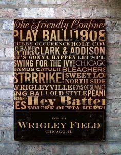 Wrigley Field Typography Canvas Art graphic art on by geministudio. , via Etsy.