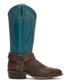 Look at this #zulilyfind! Turquoise & Brown Billy Harness Leather Boot - Women #zulilyfinds