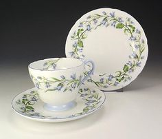 Shelley China - Harebell Pattern Trio - Art Deco! in Pottery, Porcelain & Glass, Porcelain/China, Shelley   eBay