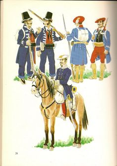 Minores, Guides & Staff of Cabrera Chocolate Box, Warfare, 19th Century, Spanish, Empire, Military, Illustration, Painting, Fictional Characters
