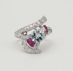 Stunning-Mid-Century-2-85ct-Aquamarine-Ruby-amp-Diamond-Ring-in-Platinum-Deco