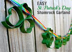 Easy St. Patrick's Day Kids Craft | Shamrock Garland