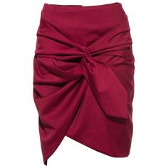 FRS Wine Red Tie Front Ruffled Mini Skirt ❤ liked on Polyvore featuring skirts, mini skirts, short red skirt, flounce skirt, flouncy skirt, purple skirt and red ruffle skirt
