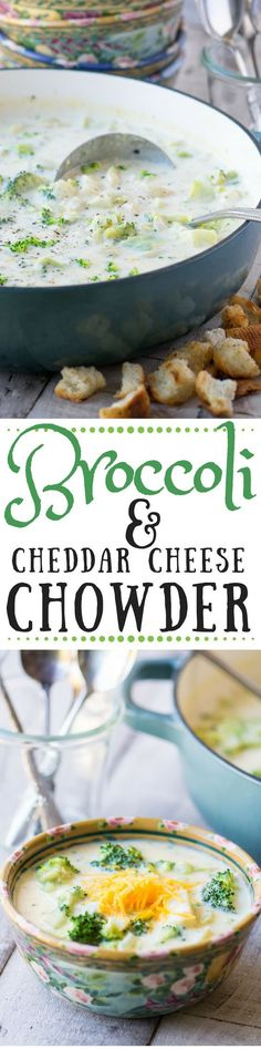 Broccoli and Cheddar Cheese Chowder is a warm and comforting 30 minute meal! ~ http://theviewfromgreatisland.com