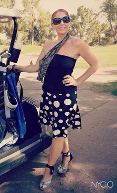 Caddy Girl Style - Only $7 for the tunic tube & on trend polka-dot skirt from Goodwill - paired great with my dots & stripe Aldo wedges I scored last year at My Sister's Closet! #FocalPointStyling