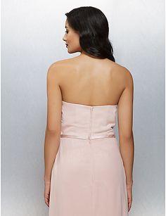 Formeller Abend Kleid - Perlen Pink Chiffon - Etui-Linie - bodenlang - trägerloser Ausschnitt – USD $ 109.99