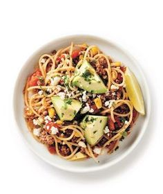 Mexican Taco-Bowl Spaghetti recipe from realsimple.com #myplate #protein #vegetables