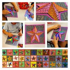 """3D Kirigami Stars! This mixed- media project was a huge hit with all students! I adore reading them: """"I am a star because I have a lot of freckles."""" """"I am a star because I am loved."""" """"I am a star because I know how to do a flip!"""""""