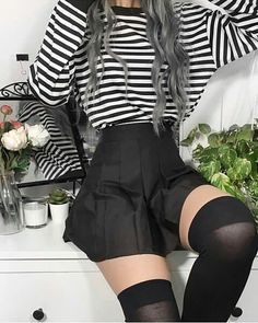 black pleated skirt and black holdups perfect - only think would make it amazing. - black pleated skirt and black holdups perfect – only think would make it amazing… – Source by rosekookpop - Tumblr Outfits, Edgy Outfits, Mode Outfits, Korean Outfits, Grunge Outfits, Girl Outfits, Fashion Outfits, Pastel Goth Outfits, Alternative Outfits