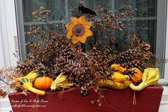 Kitchen deck window box decorated for Thanksgiving. (Garden of Len & Barb Rosen) -
