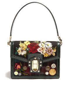 DOLCE & GABBANA DOLCE SOFT SNAKESKIN-TRIMMED TARTAN BAG. #dolcegabbana #bags #hand bags #metallic #crystal #