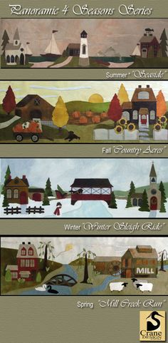 """4 Seasons"" Wool Applique Patterns. Designed & stitched by Jan Mott of Crane Design. Check out my blog spot to see shops that offer this pattern. Please respect the designer as the pattern is copyrighted"
