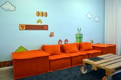 Spotify office in Stockholm, Super Mario themed lounge area. Interior design concept by Adolfsson & Partners.