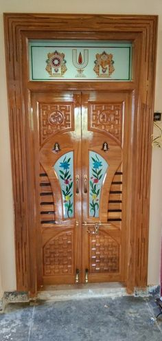 Pooja Room Door Design, Ceiling Design Living Room, Kitchen Room Design, Wooden Front Door Design, Double Door Design, Wooden Doors, Flush Door Design, Home Door Design, Single Floor House Design