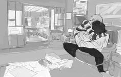 Help! I don't know what I want to look at more, my OTP making out, or the excellent view of the flat from this perspective. John + Sherlock + 221B = OT3?