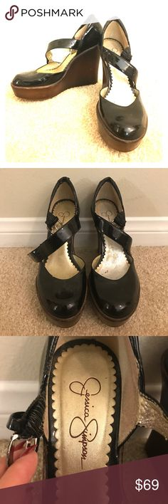 Jessica Simpson Wedges Gently used Jessica Simpson black wedges. Worn by Carrie Underwood in a music video that I worked on. Refer to pictures for signs of wear. Make me an offer! Feel free to ask any questions! Jessica Simpson Shoes Wedges