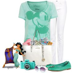 """""""A Day at Disney Contest"""" by angkclaxton on Polyvore. Cute mint Mickey washout tee, white skinnies and mint ballet flats.  Cool and cute."""