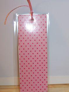 laminated paper bookmark (sq.) - pnk tone dots