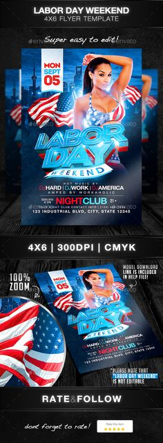 Labor Day Weekend Party Flyer | Party Flyer, Flyer Template And Flyer Size