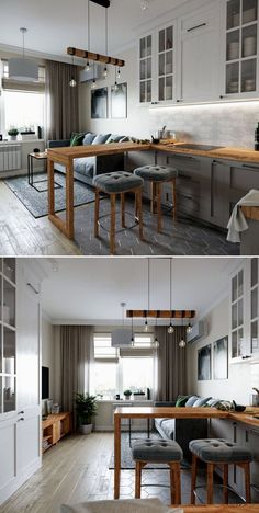 Start using these interior decor tips to brighten up your home and give it new life. Home redecorating is entertaining and will transform your house into a home when you learn how to get it done. Condo Interior Design, Small Apartment Interior, Small Apartment Design, Apartment Layout, Small Apartments, Small Apartment Kitchen, Living Room Kitchen, Home Decor Kitchen, Kitchen Interior