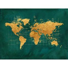 Buy Art For Less 'World Map in Golden Chic' by Beth Albert Grahic Art on Wrapped Canvas Size: