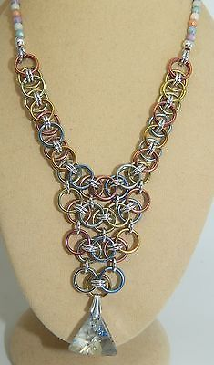 Hand-made Pastel Chain Maille with Genuine Swarovski Pendant & Czech Glass beads