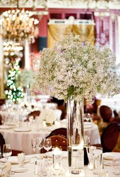 #Wedding #Ideas: Mix It up with a Baby's Breath Centerpiece. To see more: www.modwedding.com