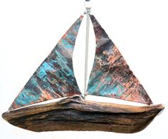 Reclaimed Driftwood Sailboat, Handmade Wooden Model Ship, Beachy Boat Sailing Sailor Prop, Sail Away With Me, Drift Wood Centerpieces Copper Sailboat Craft, Sailboat Decor, Driftwood Fish, Driftwood Wall Art, Aged Copper, Green Copper, Boat Crafts, Diy Crafts, Cadeau Couple