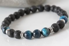 Men blue tiger eyes bracelet, Lava rock bracelet, Mala bracelet, yoga bracelet, Energy bracelet, Meditation bracelet, gift for him by TempleOfTheStones on Etsy