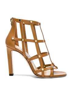Jimmy Choo Leather Tina Sandals with Studs in Cuoio & Light Gold | FWRD
